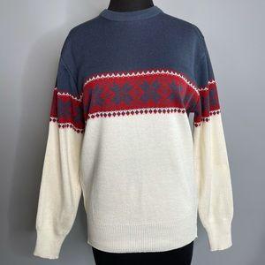 VINTAGE MEISTER Winter White Long Sleeve Winter Nordic Fair Aisles Sweater